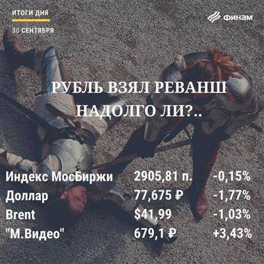 Итоги среды, 30 сентября: Сегодняшнее укрепление рубля не говорит о начале нового тренда